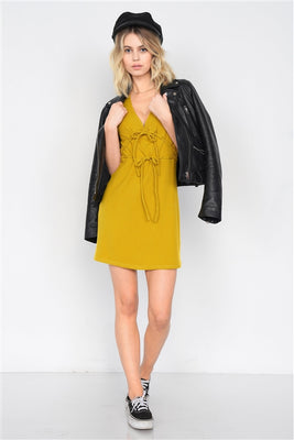 Mustard V-Neck Cap Sleeve Mini Dress