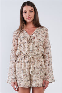 Taupe Floral Multi Color Print Wrap V-Neck Relaxed Fit Long Sleeve Chest Tassel Tip Self Tie Romper