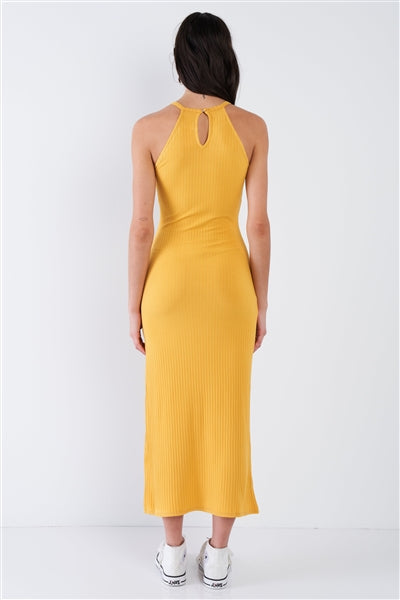 Honey Halter Neck Side Slit Tank Dress