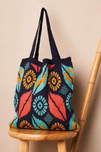 Leaf Pattern Knit Boho Tote Bag