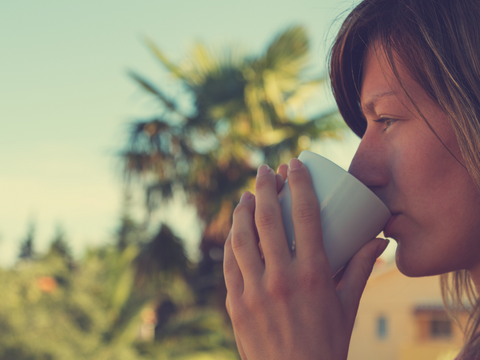 enjoy the little things, girl drinking coffee