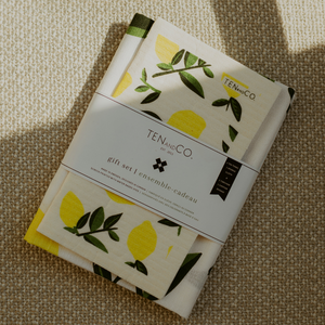 Sponge Cloth and Tea Towel Set - Citrus Lemon