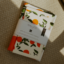Load image into Gallery viewer, Sponge Cloth and Tea Towel Set - Citrus Orange