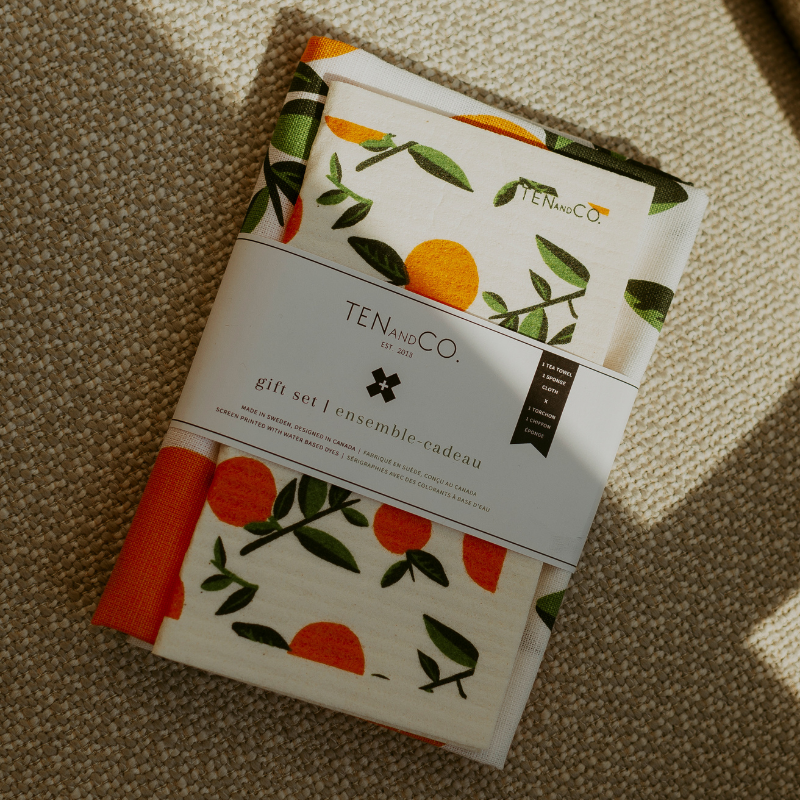 Sponge Cloth and Tea Towel Set - Citrus Orange