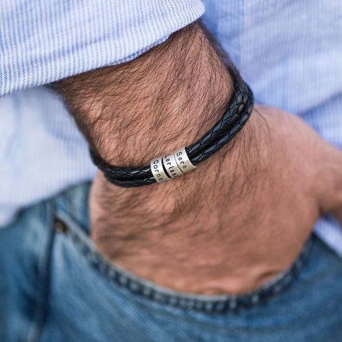 HOT Gifts!!Men Braided Leather Bracelet With Small Custom Beads In Silver