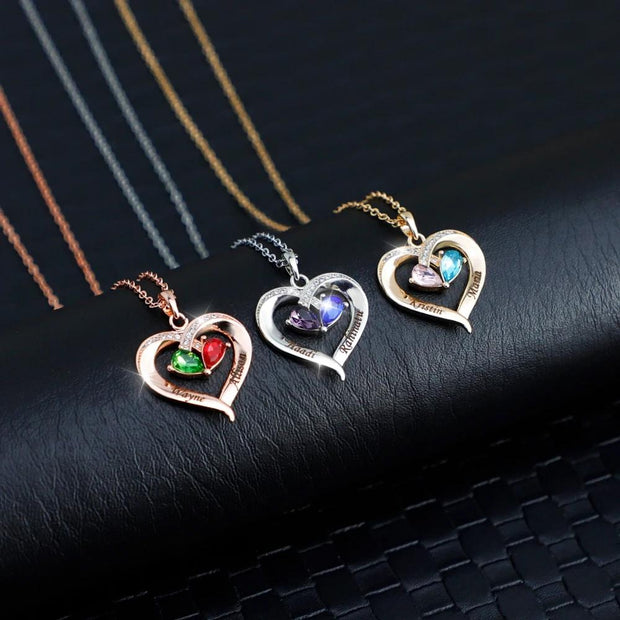 Valentine's Day Gift Forever Love Birthstone & Diamond Heart Pendant Necklace