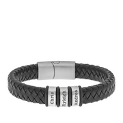 Personalized Men's Silver Oval Beaded Leather Bracelet