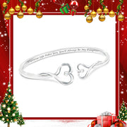 """ Always My Daughter"" Engraved Heart-Shaped Diamond Bracelet"