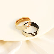 Half peach heart shaped couple ring