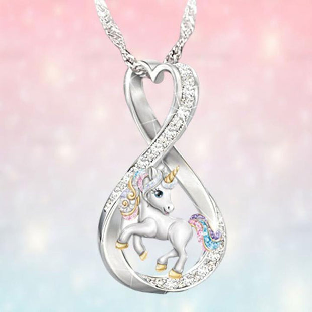 Personalized Infinite Love Rainbow Unicorn Necklace for Women Granddaughter Daughter