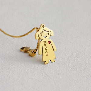 Baby Birthstone Mother Charm Necklace Name