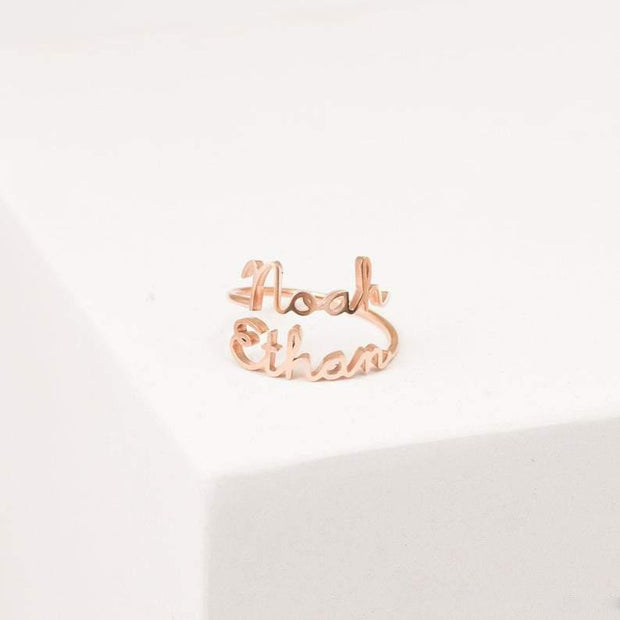 Double Name Ring • Two Name Ring • Personalized Gift For Mom • Best Friend Gift •JUST FOR U