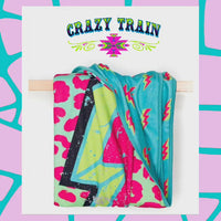"Crazy Train Blanket ""Stormy Brights"" Adult Size *Large"