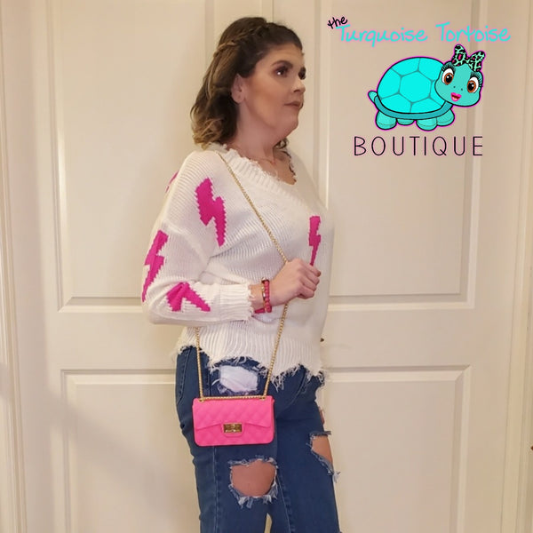 Hot Pink Jelly Crossbody Bag Turquoise Tortoise