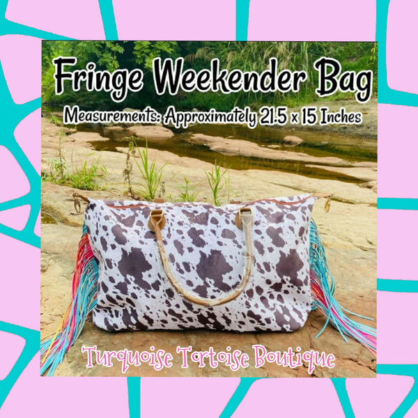 Brown Cow Print Weekender Bag w/ Fringe Turquoise Tortoise
