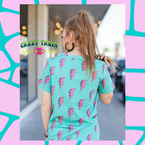 """Electric Slide"" Tee (by Crazy Train) Turquoise Tortoise"