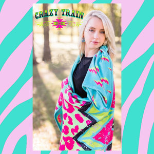 """Stormy Brights"" Adult Size *Large Blanket (by Crazy Train) Turquoise Tortoise"