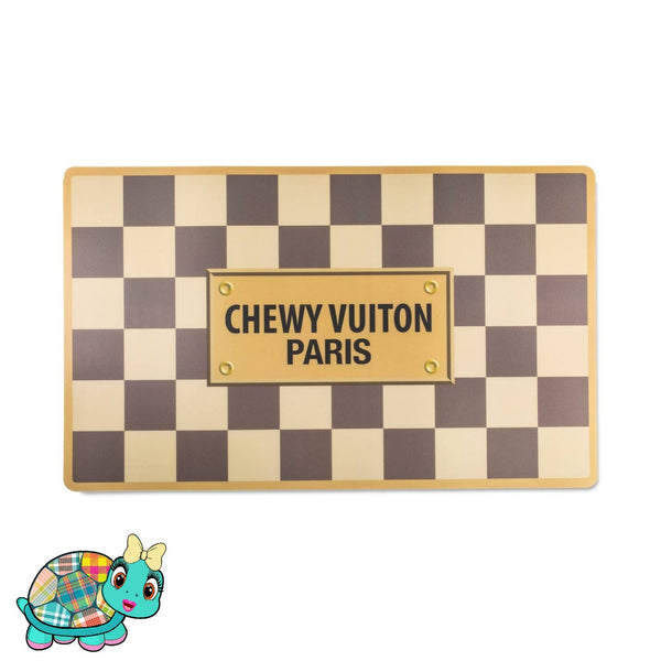 Checkered Chewy Vuiton Placemat Turquoise Tortoise
