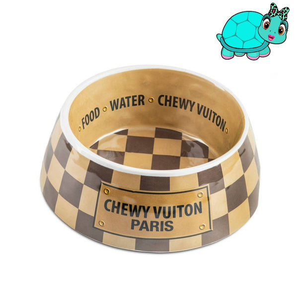 Checkered Chewy Vuiton Dog Bowl Turquoise Tortoise
