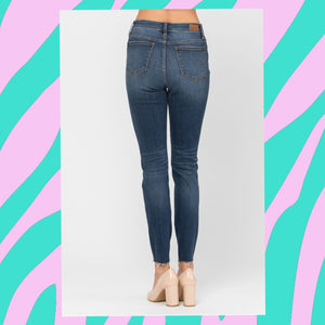 High Waist Leopard Patch Skinny Jean (by Judy Blue) Turquoise Tortoise