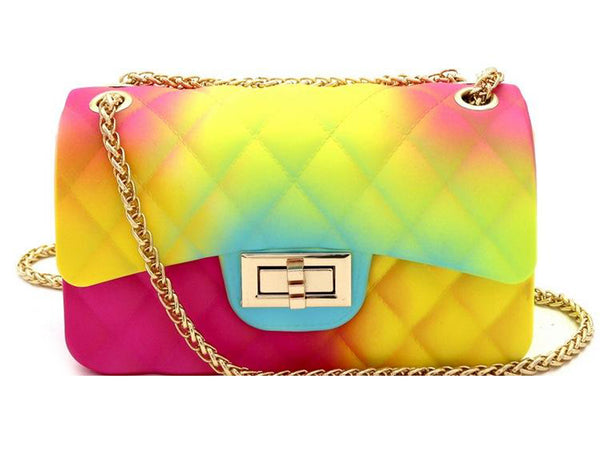 Rainbow Jelly Crossbody Bag Turquoise Tortoise