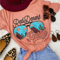 """Red Desert Darlin'"" Bella Canvas Tee Turquoise Tortoise"