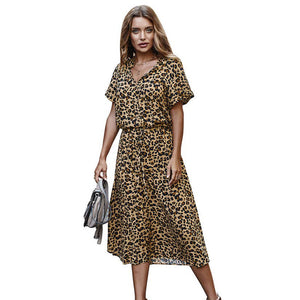 Leopard Print Cotton Dress Turquoise Tortoise