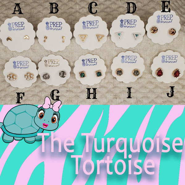 Stud Earrings Group A Turquoise Tortoise