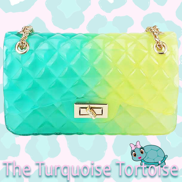 Jelly Crossbody Bag (Turquoise to Yellow ombre/See Through) Turquoise Tortoise