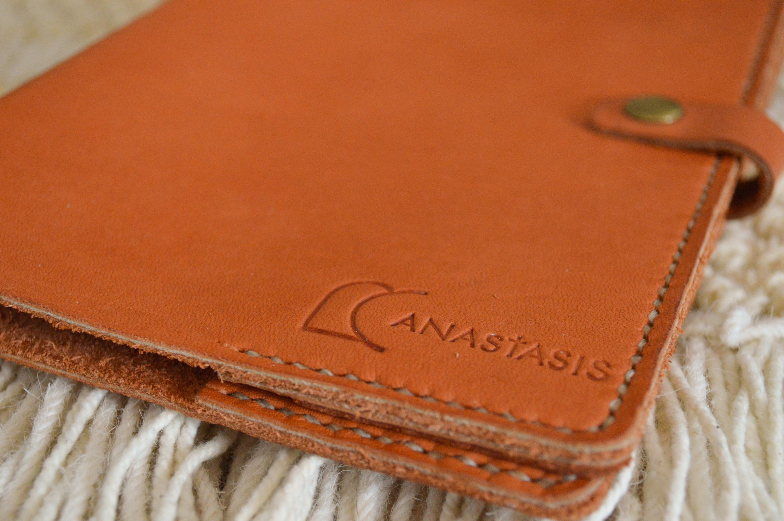 Haiti made leather snap journal