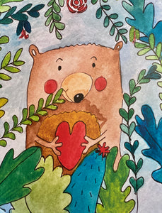 Watercolor Brown Bear Art Box