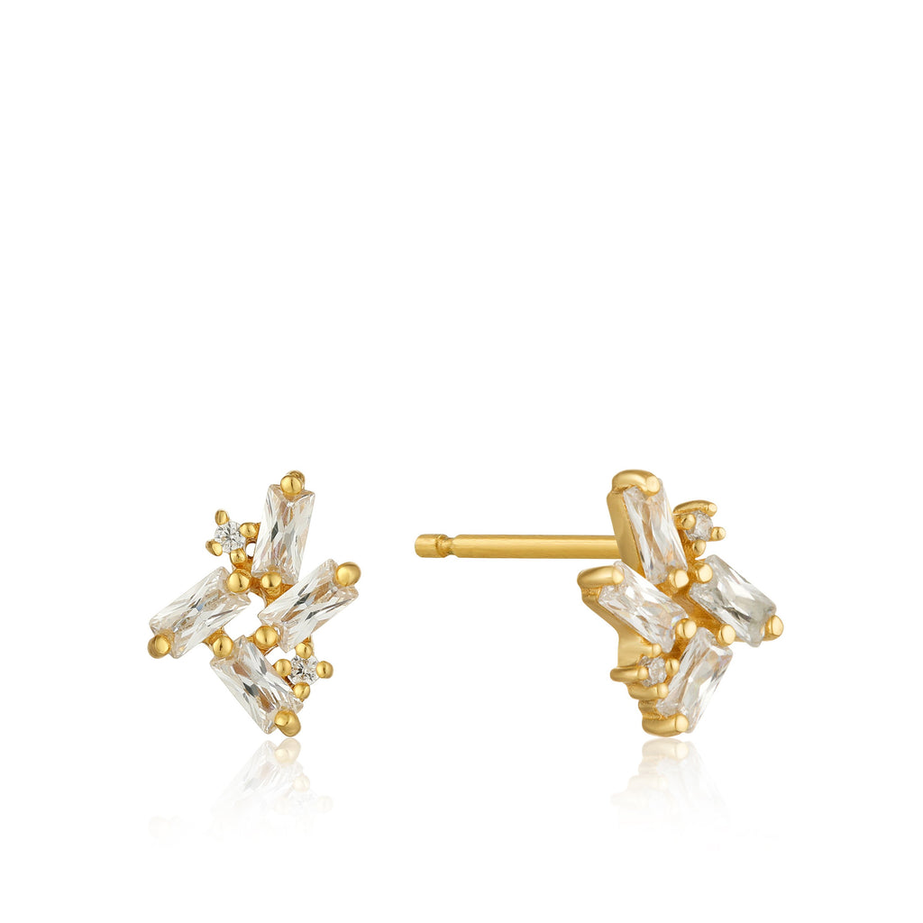 Earstuds eyes on the price 14k gold plated white zirconia - Dreamchaser