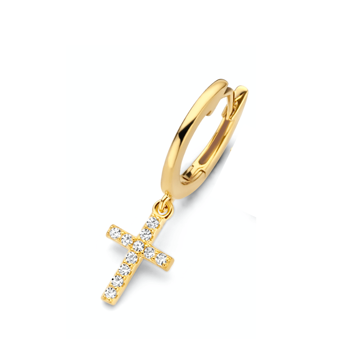 Earring huggie faith gold plated white zirconia - Dreamchaser