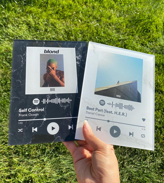 Black Marble Custom Spotify Acrylic  Album Cover - SPOTIFY Song (scan + play) - Pictical™