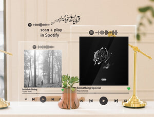 Large Photo Custom Acrylic Album Cover - SPOTIFY song plaque BLACK text (scan + play) - Pictical™