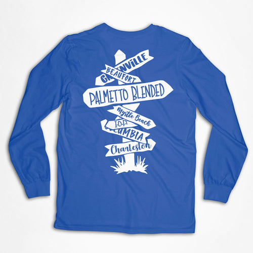 Directional Sign Carolina Longsleeve T-Shirt - Palmetto Blended