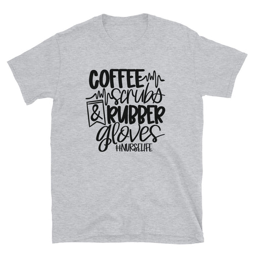 Coffee Scrubs and Rubber Gloves | Nurse Unisex T-Shirt - Palmetto Blended