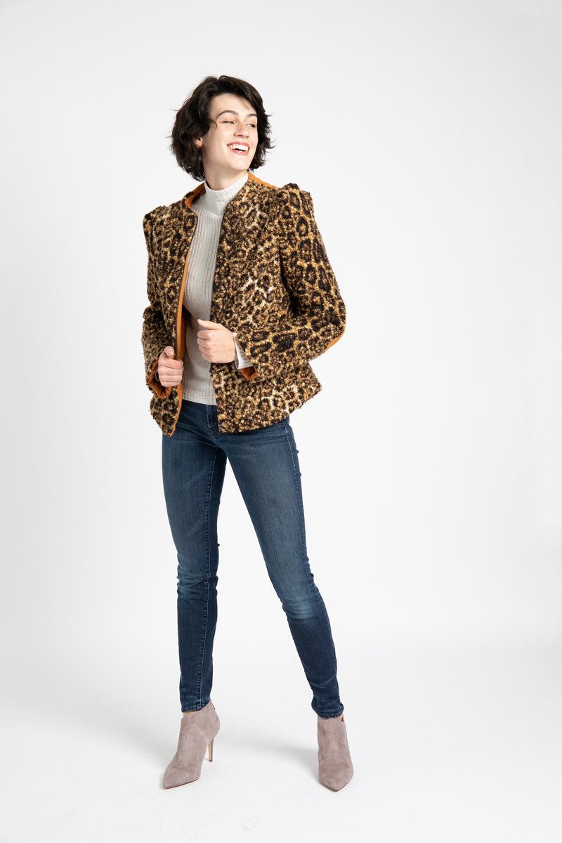 Short Teddy Jacket in Leopard Print -  AlekSandraD