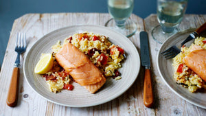 BAKED TROUT WITH CHORIZO RICE
