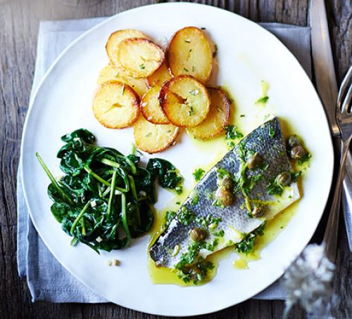 BAKED SEA BASS WITH LEMON CAPER DRESSING