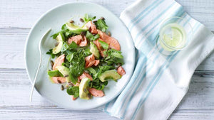 TROUT, AVOCADO, WATERCRESS AND PUMPKIN SEED SALAD