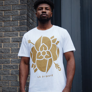 Flower T-Shirt (White w/Gold)
