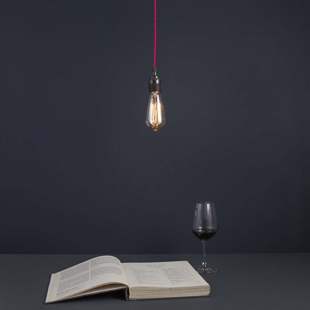 Bare edison industrial pendant light drop with globe edison bulb bare edison industrial pendant light drop with squirrel edison bulb made in england mozeypictures Choice Image