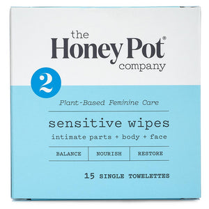Honey Pot - Sensitive Intimate Daily Travel Wipes - 15 count