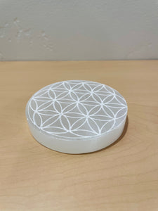 Sacred Geometry Selenite Round