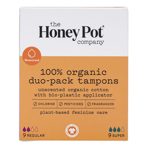 Honey Pot - Duo-Pack Tampons with Bio-Plastic Applicator 18 tampons