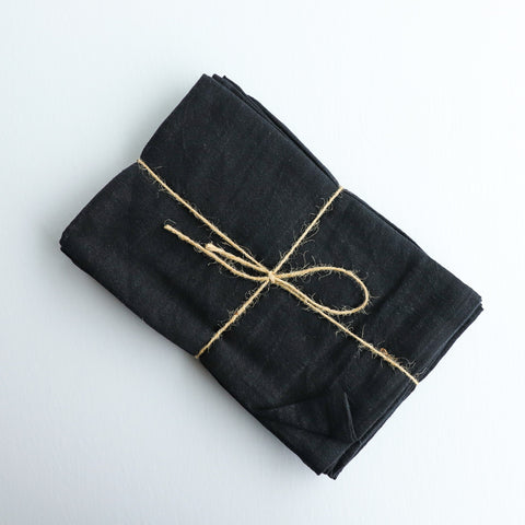 Linen Napkins and Tea Towels in Black make a cozy and moody table