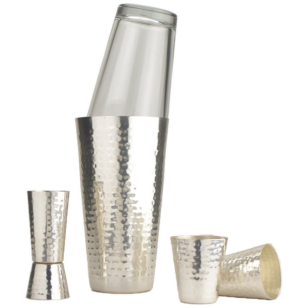 Hammered Silver Boston Style Shaker Set