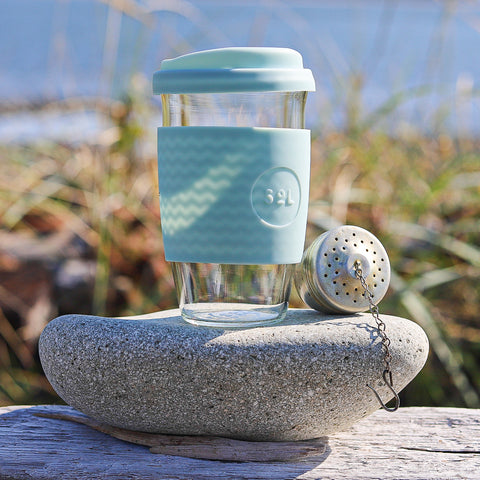 Reusable Travel Cup in Handblown Glass with Silicone Lid and Sleeve