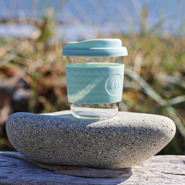 8 oz Glass Espresso Cup with Silicone Sleeve and Lid in Slate or Cyan Blue